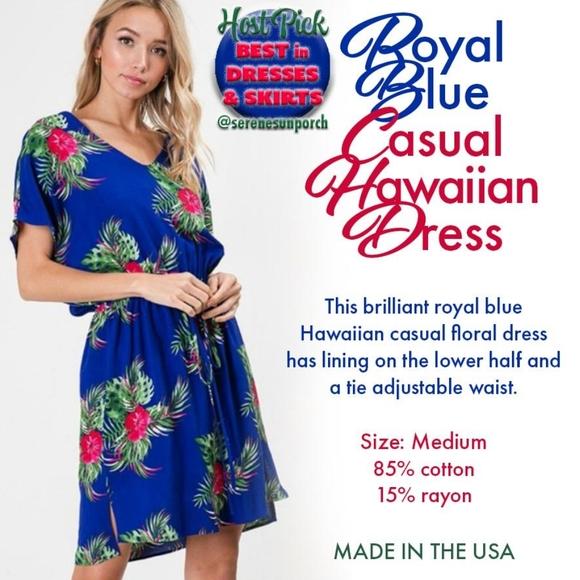 Royal Blue Casual Hawaiian Dress HOST PICK